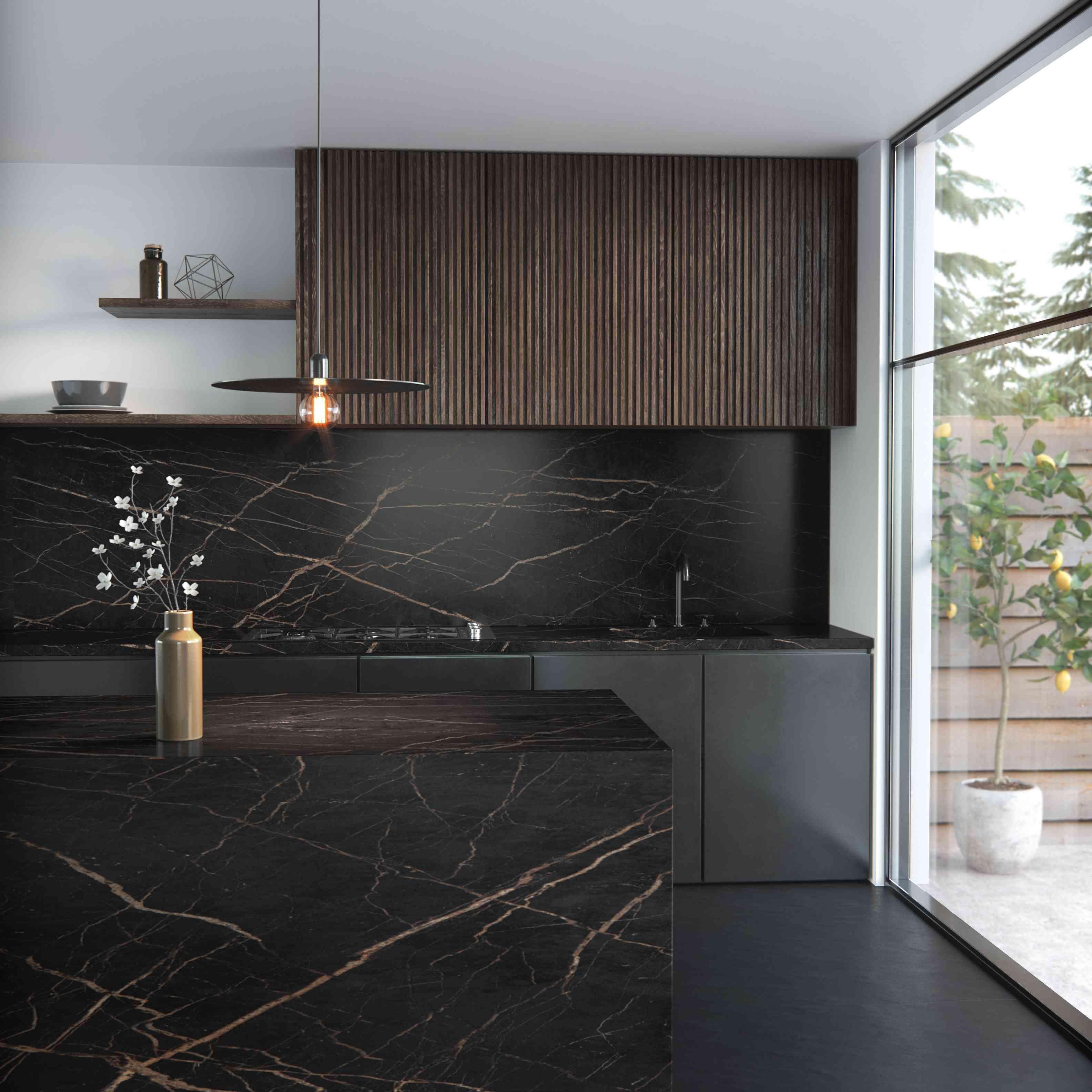Dark moody kitchen.