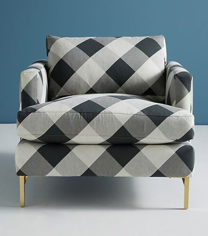 Anthropologie Buffalo Check Bowen Chair