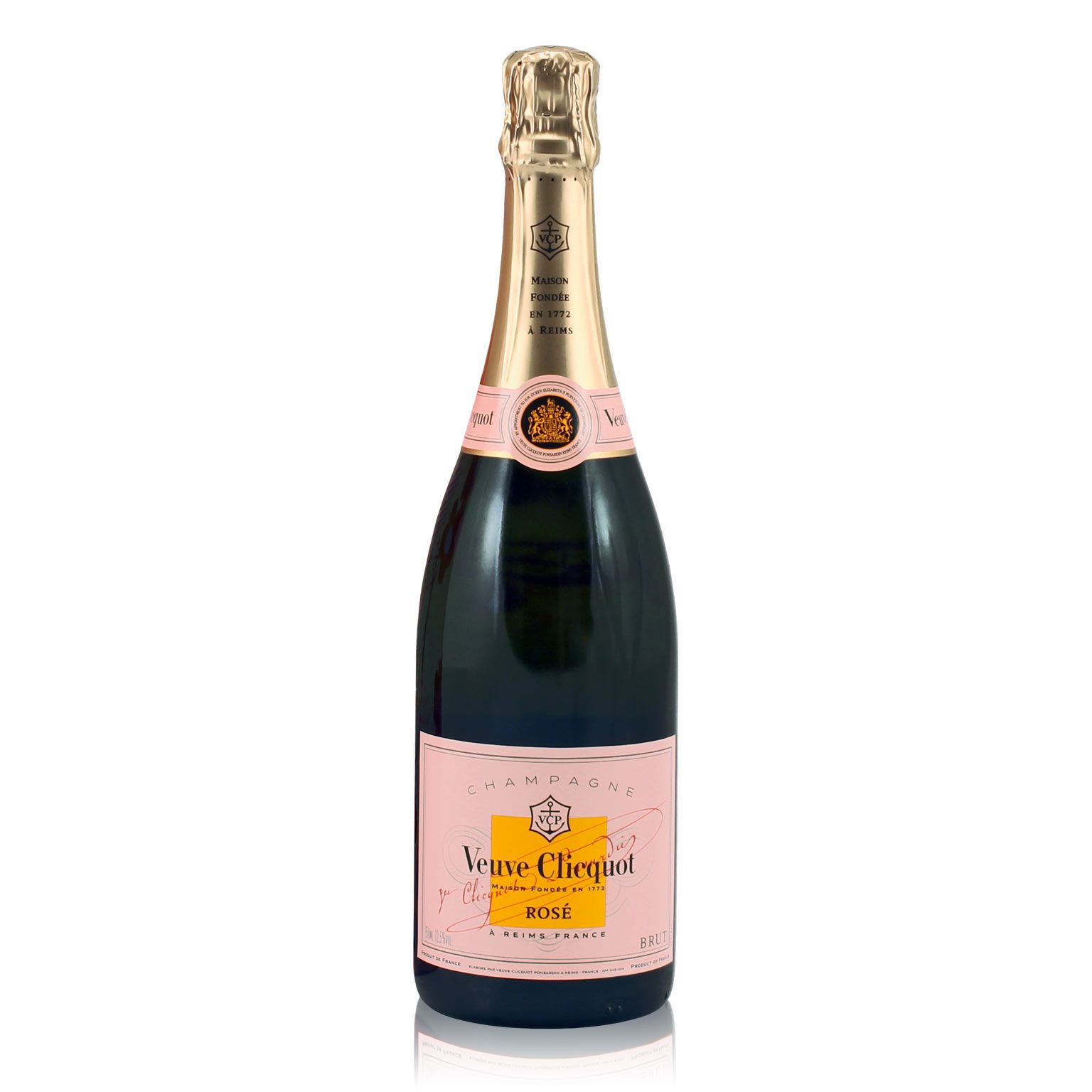 Bottle of champagne with a pink and yellow label.