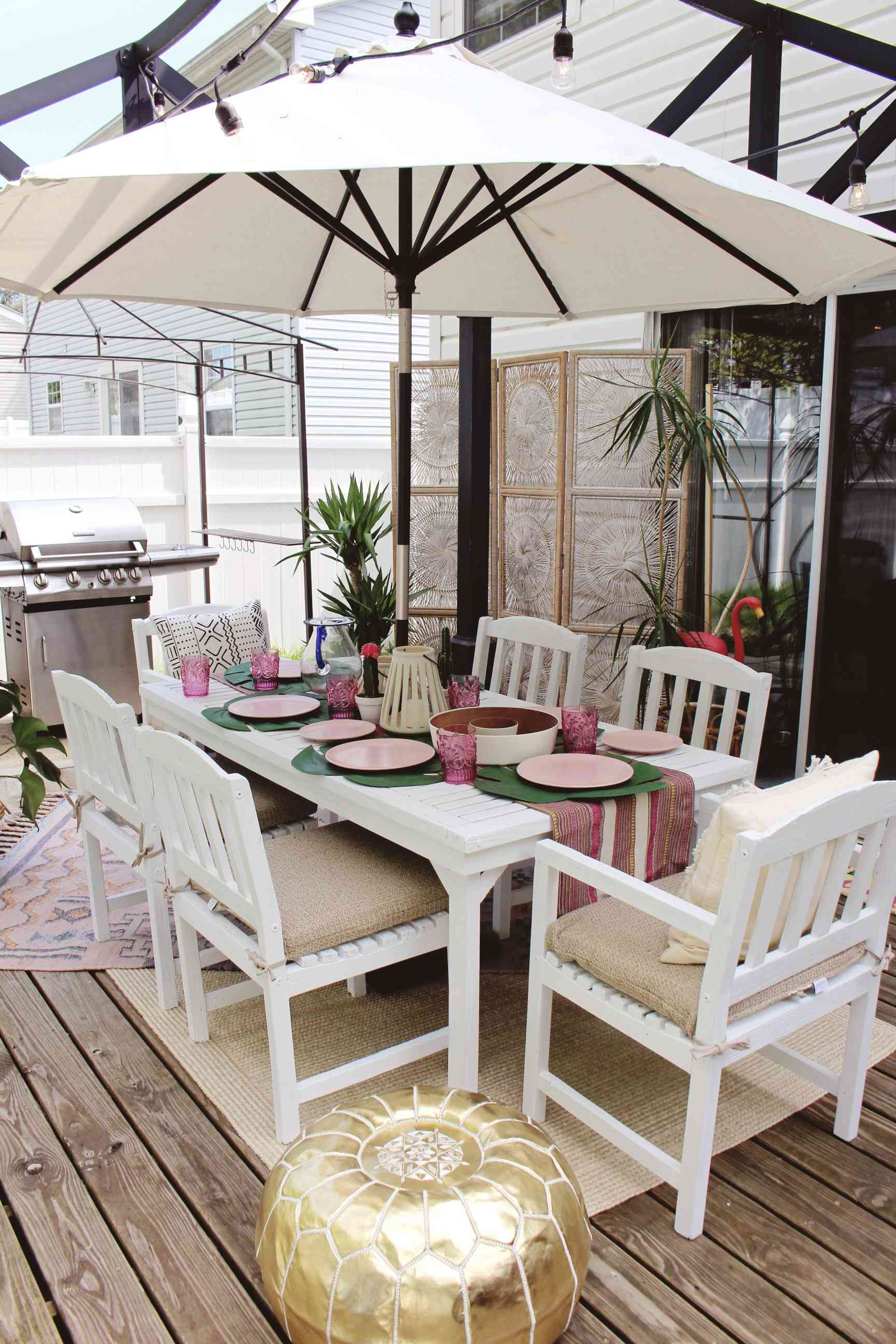 apartment patio with rugs