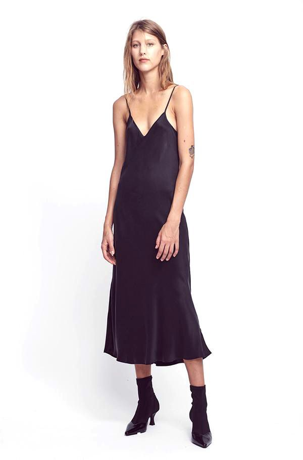 Silk Laundry 90s Silk Slip Dress in Black