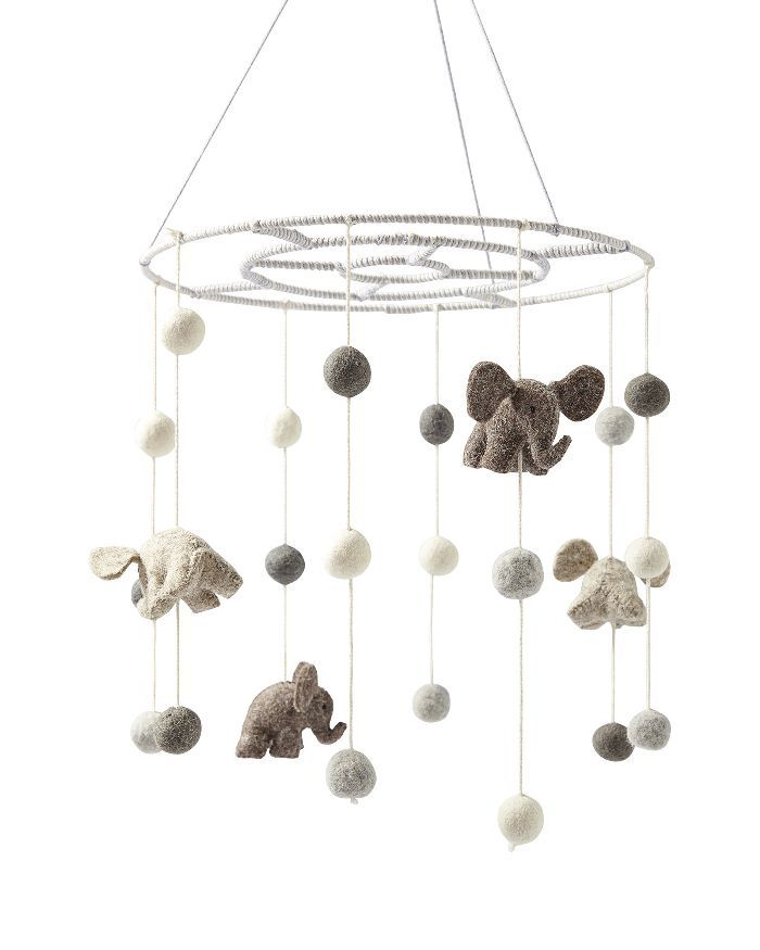 Serena & Lily Felted Wool Animal Mobile – Elephants
