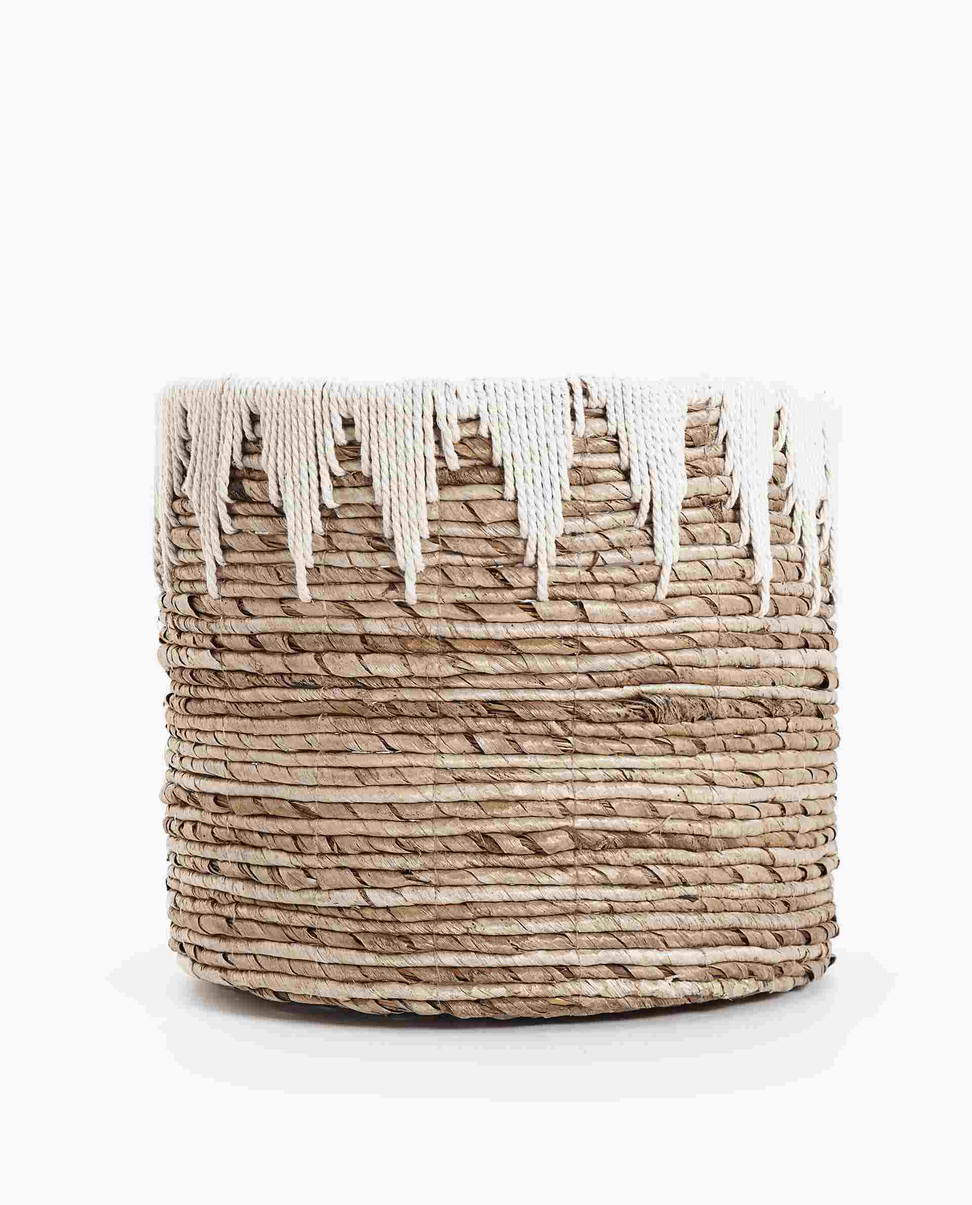 Round Basket with White Detail