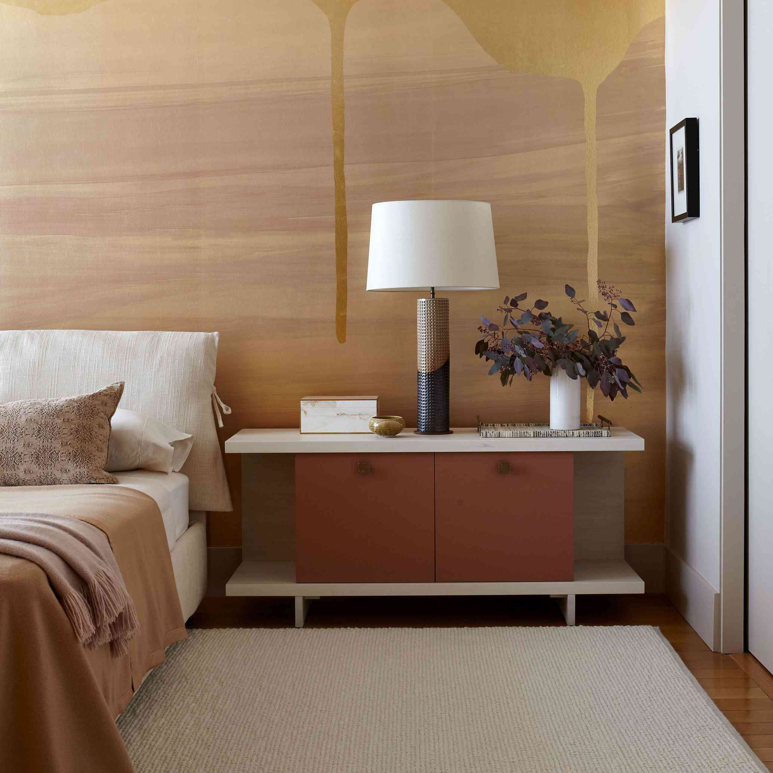 Side table lamp in bedroom.