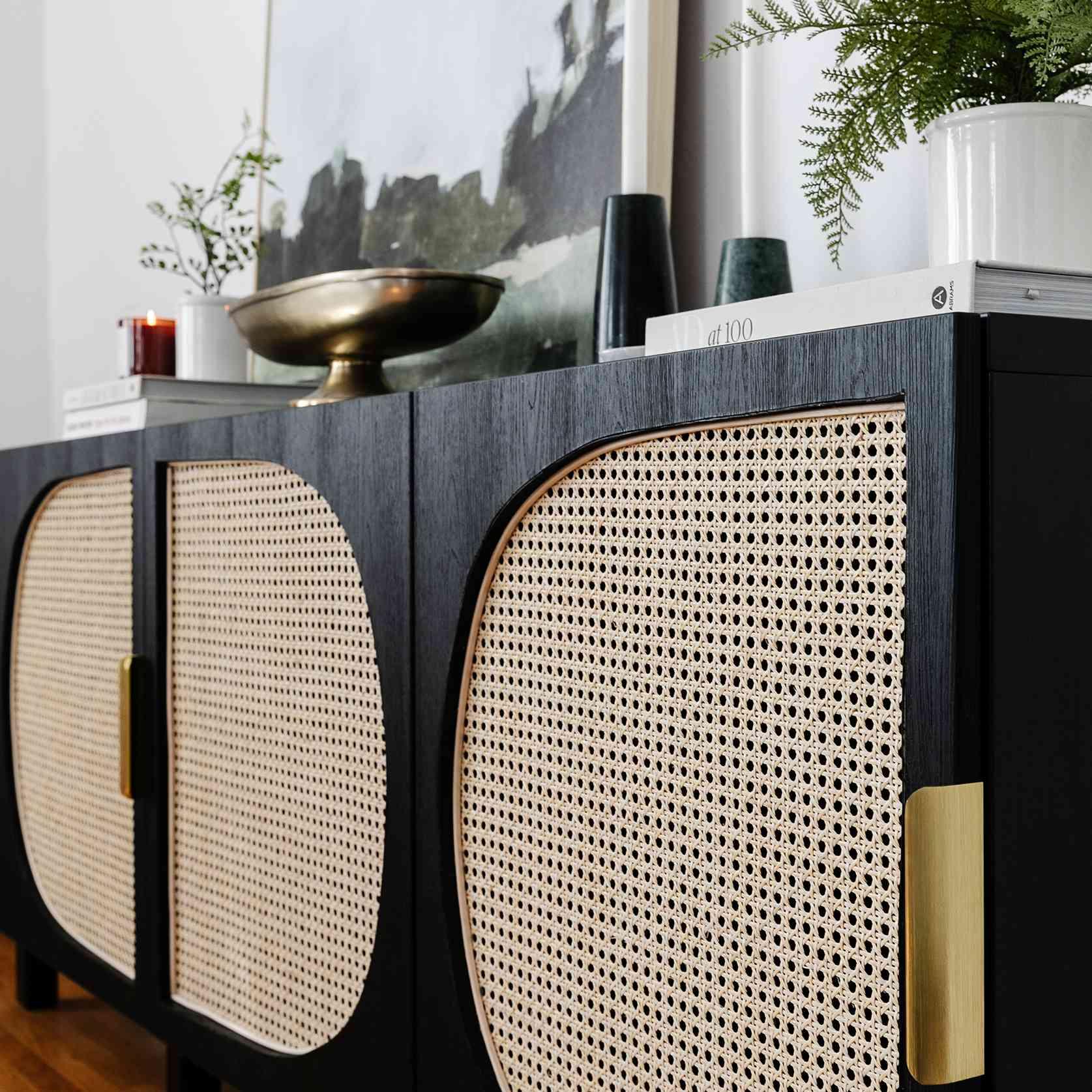 lone fox IKEA bestia unit diy - close up shot of cane media console