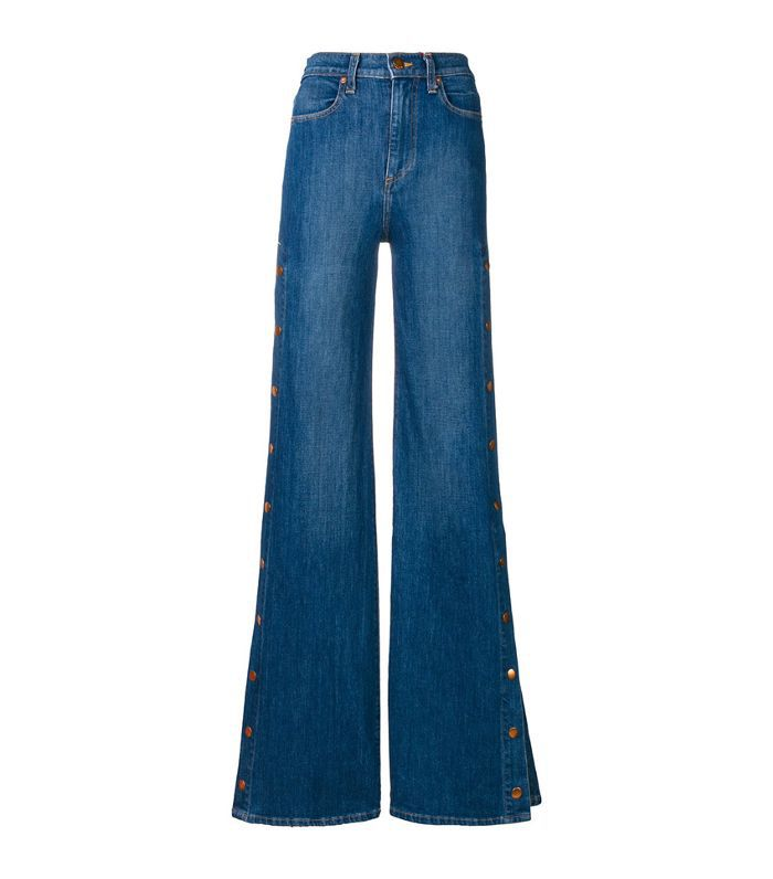 buttoned side flared jeans