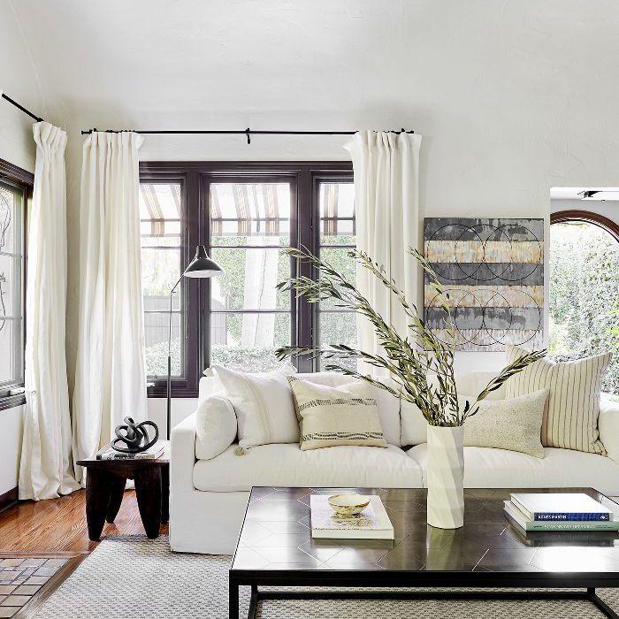 all-white living room