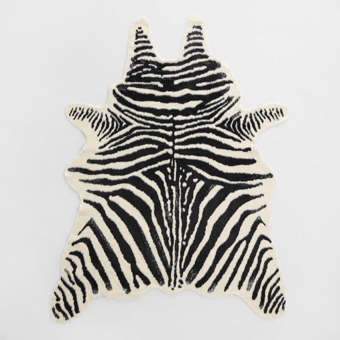 Cost Plus World Market Black and Ivory Faux Zebra Hide Area Rug Urban Outfitters Home