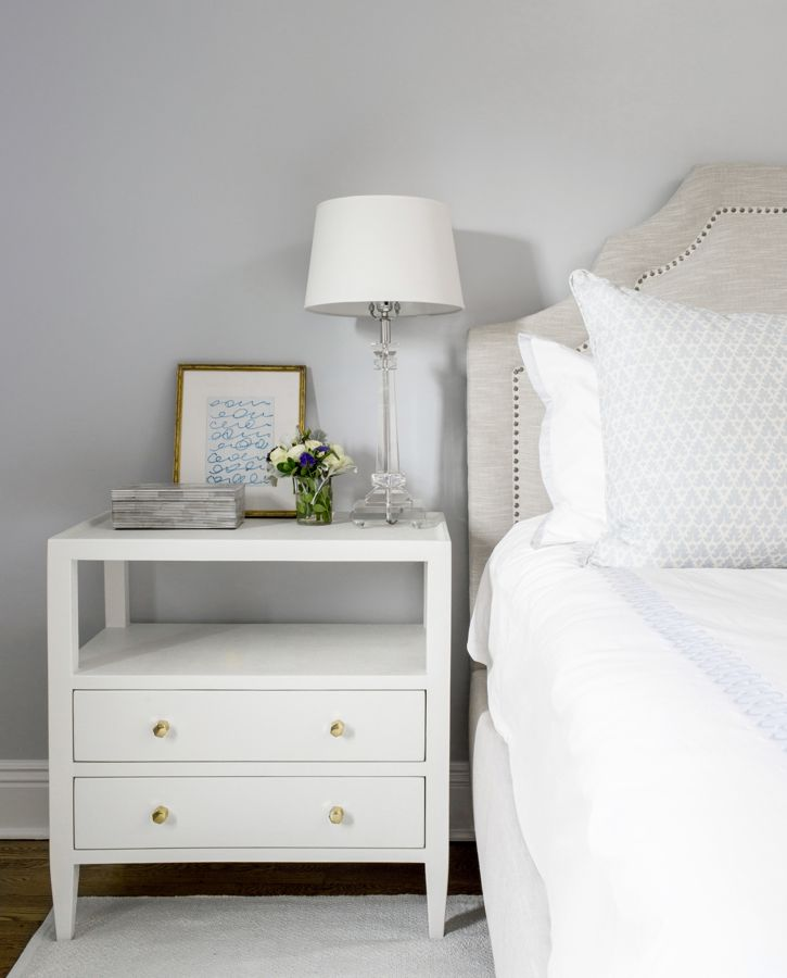Close-up of bedroom side table with blue decor.