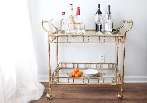 gold minimalist bar cart