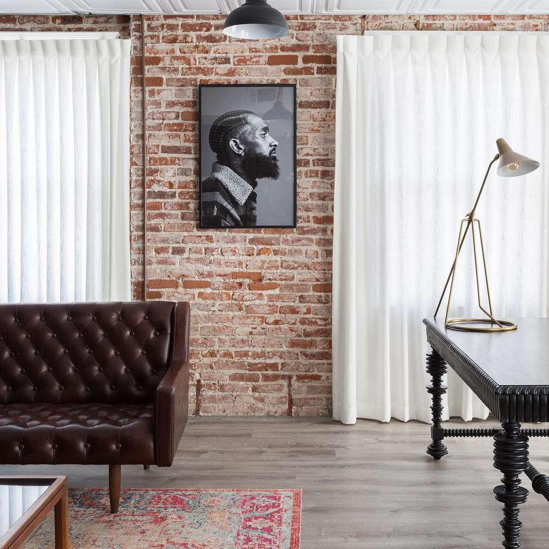 Brick walls and flowy curtains