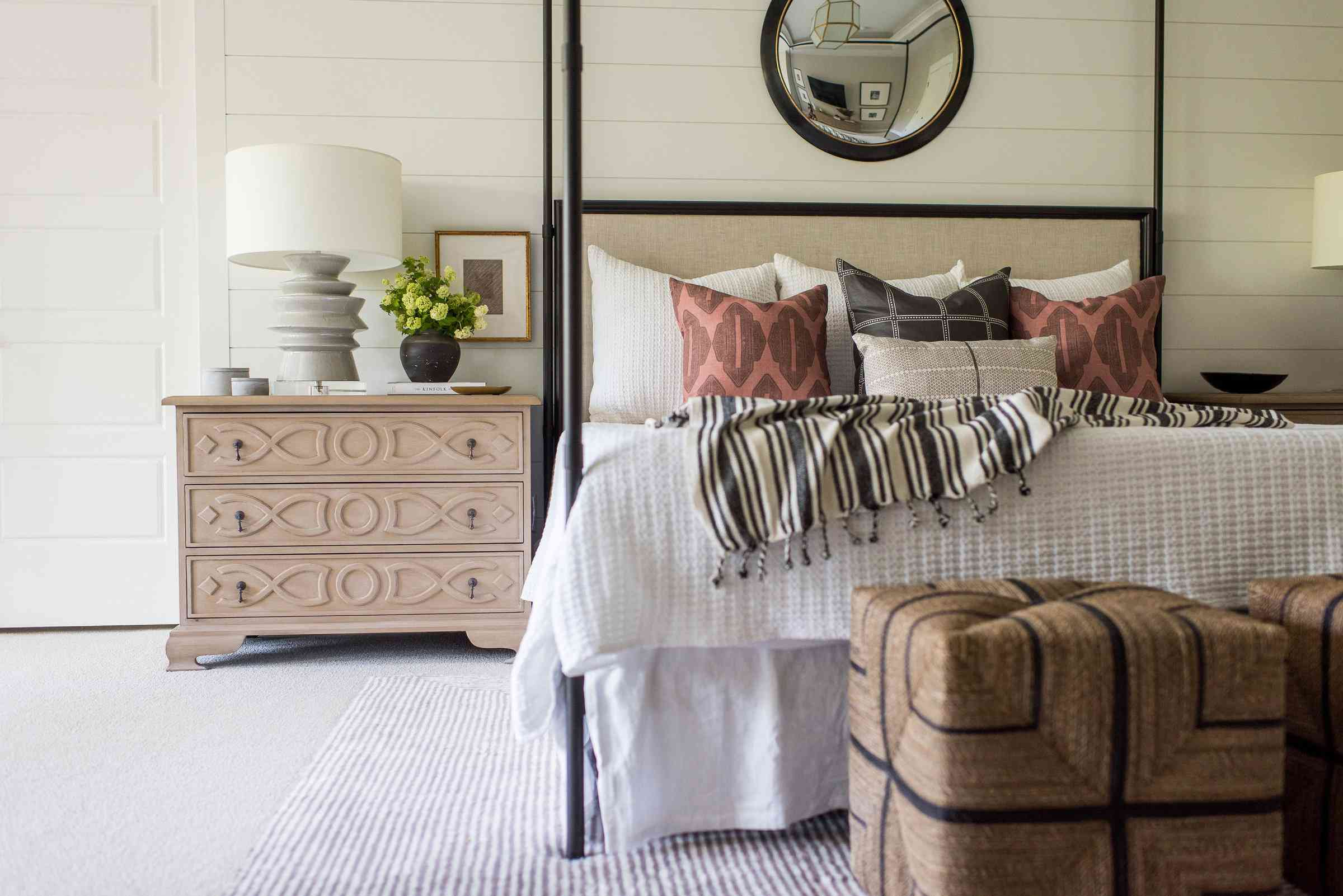 Bedroom with a shiplap accent wall