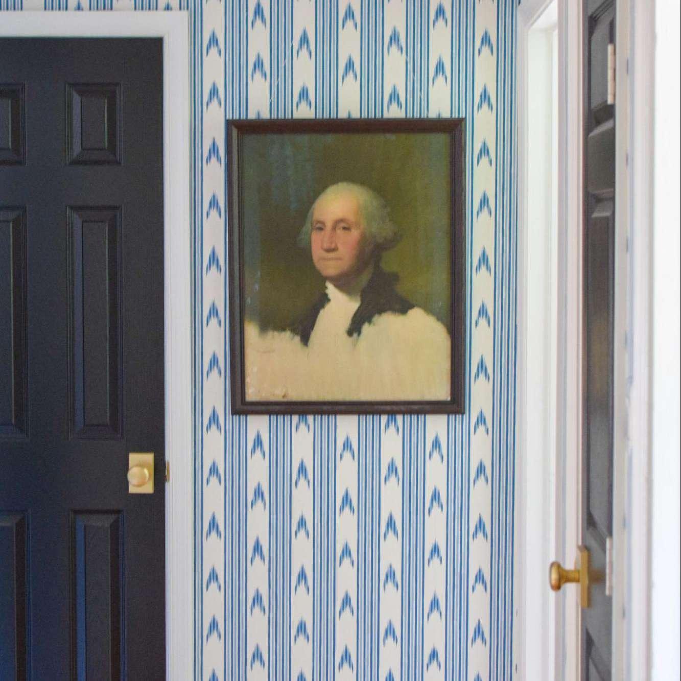Vintage print of George Washington on wall.
