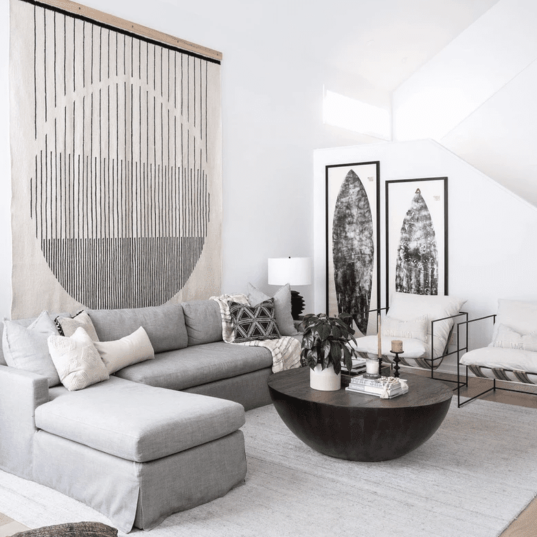 Living room with large print