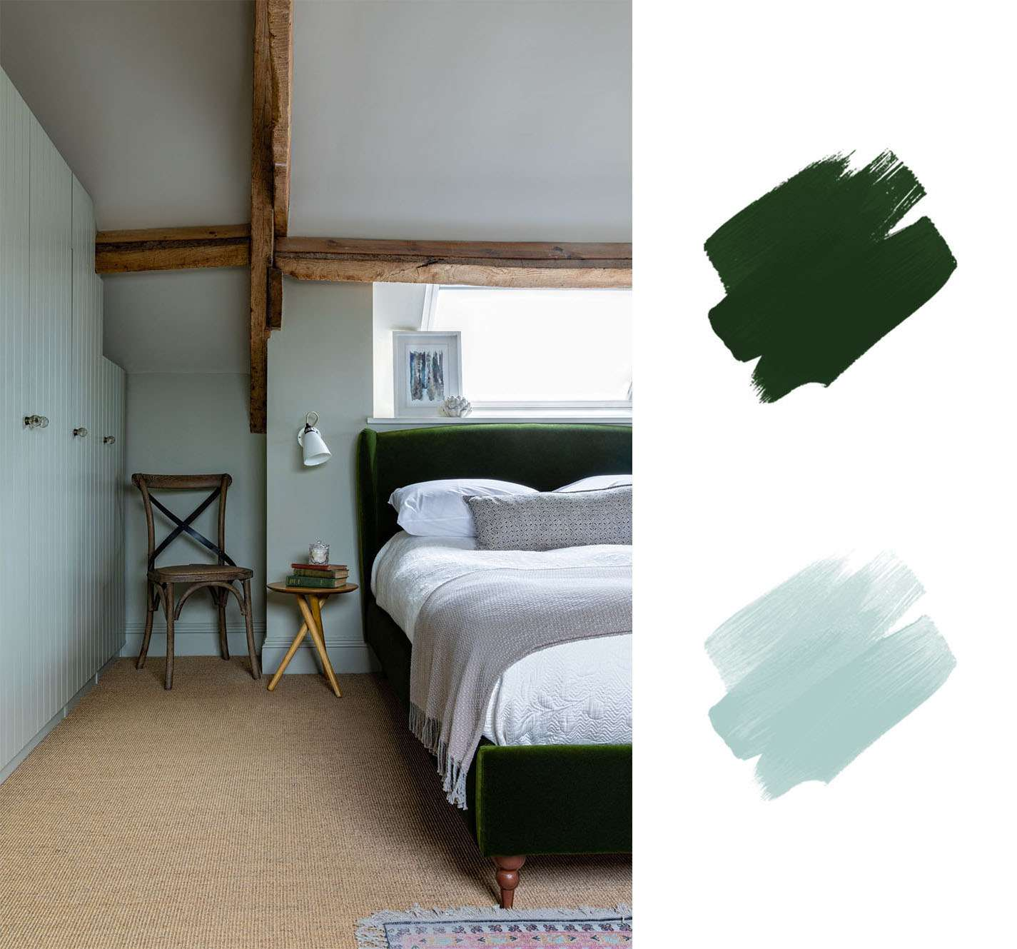 best interior color schemes - emerald green and light blue