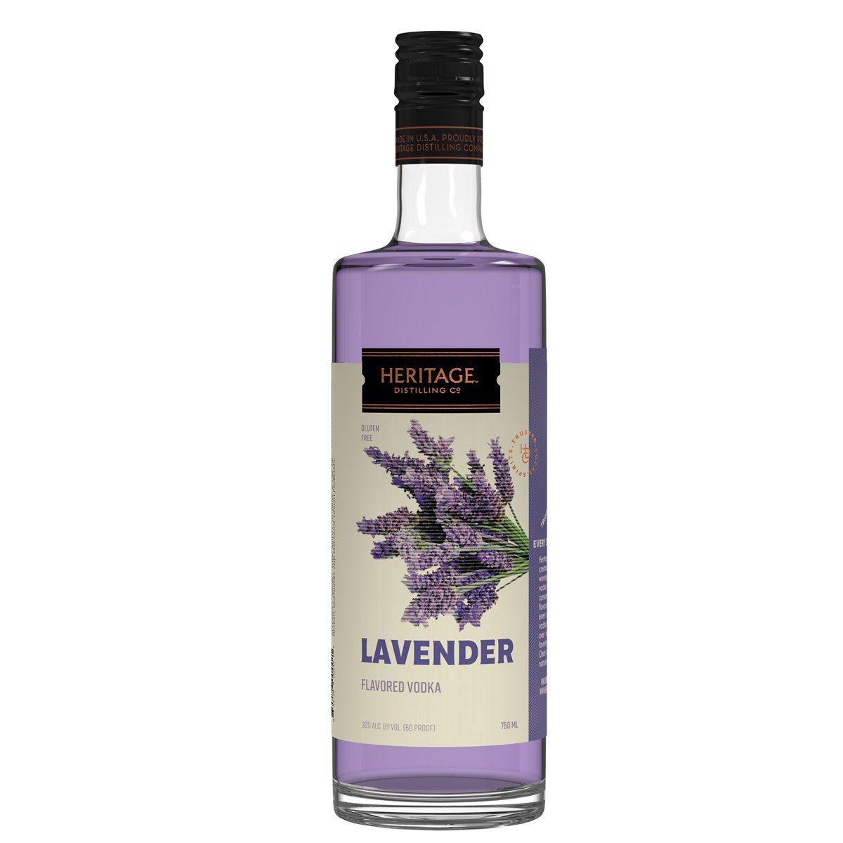 Bottle of lavender vodka.