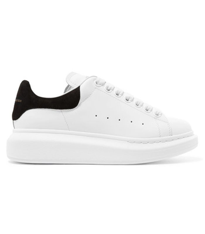 Suede-trimmed Leather Exaggerated-sole Sneakers
