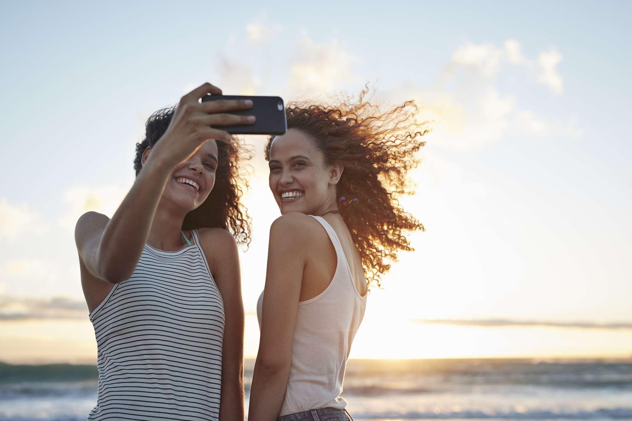 selfies on beach
