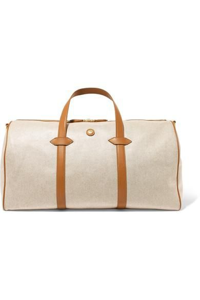 Main Line Duffel Leather-Trimmed Canvas Weekend Bag