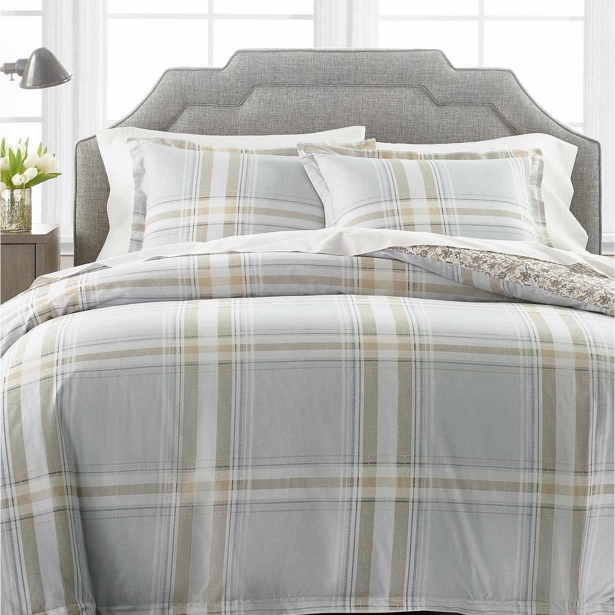 Martha Stewart Percale Gray Plaid Bedding