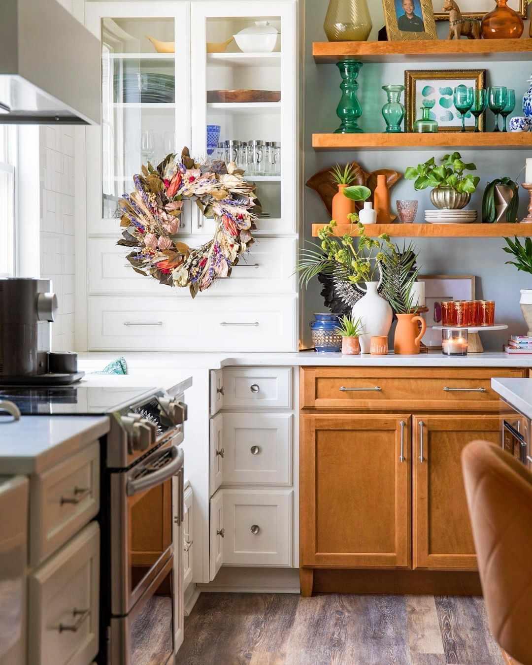 A multicolored wreath in the kitchen