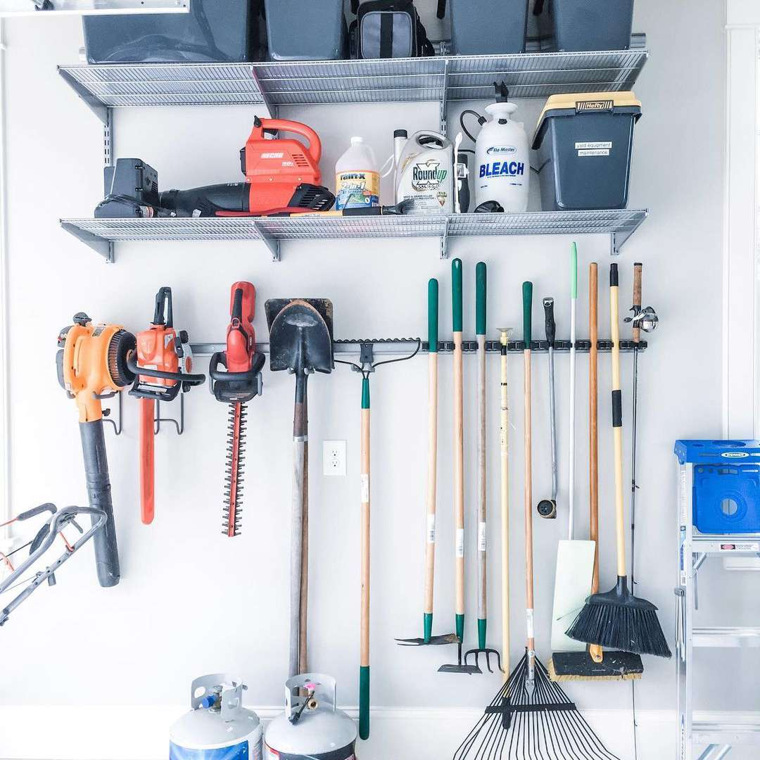 Garage with hanging tools
