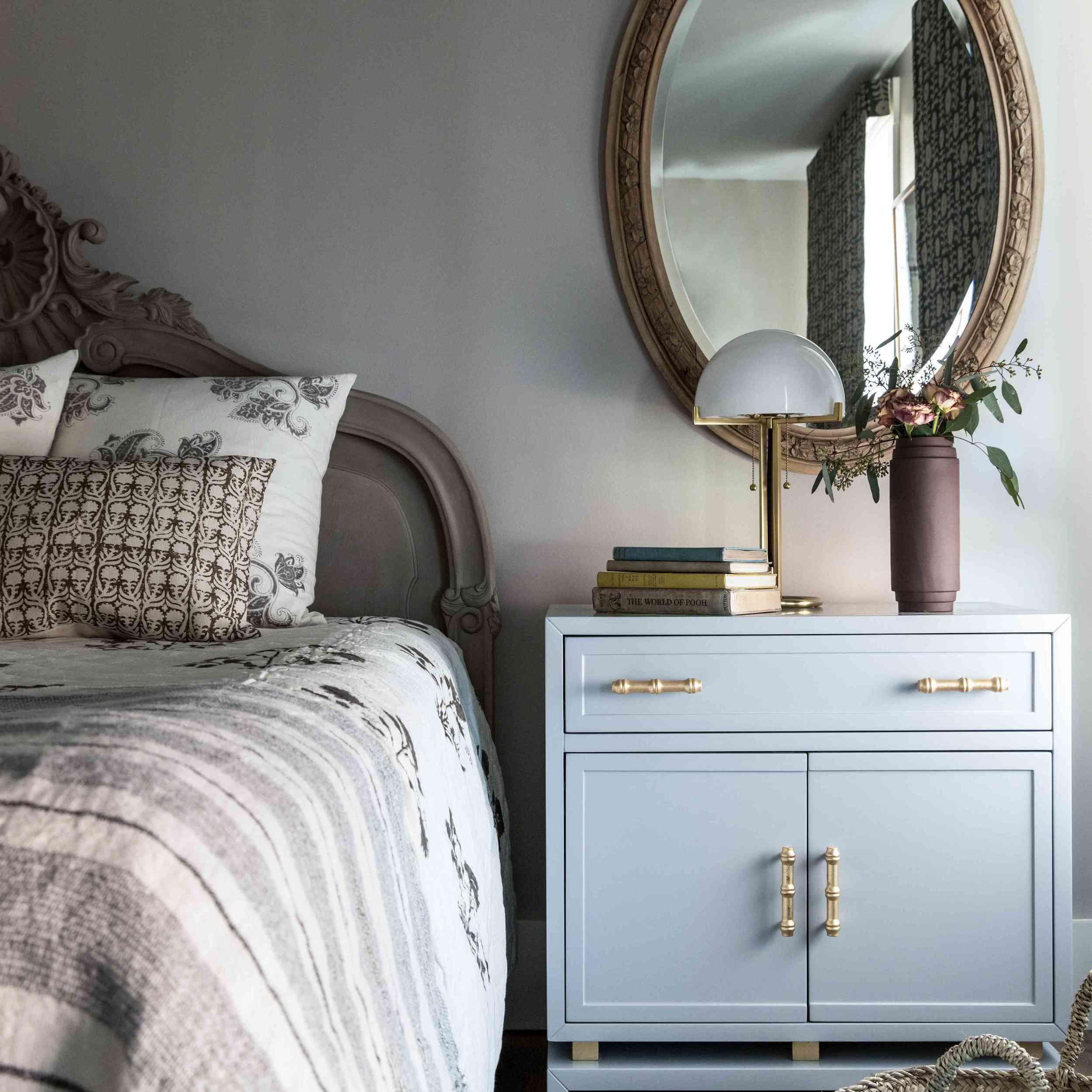Modern traditional bedroom with medium gray walls