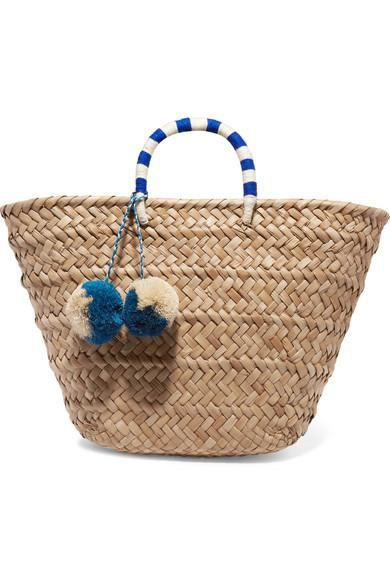 St Tropez Pompom-embellished Woven Seagrass Tote