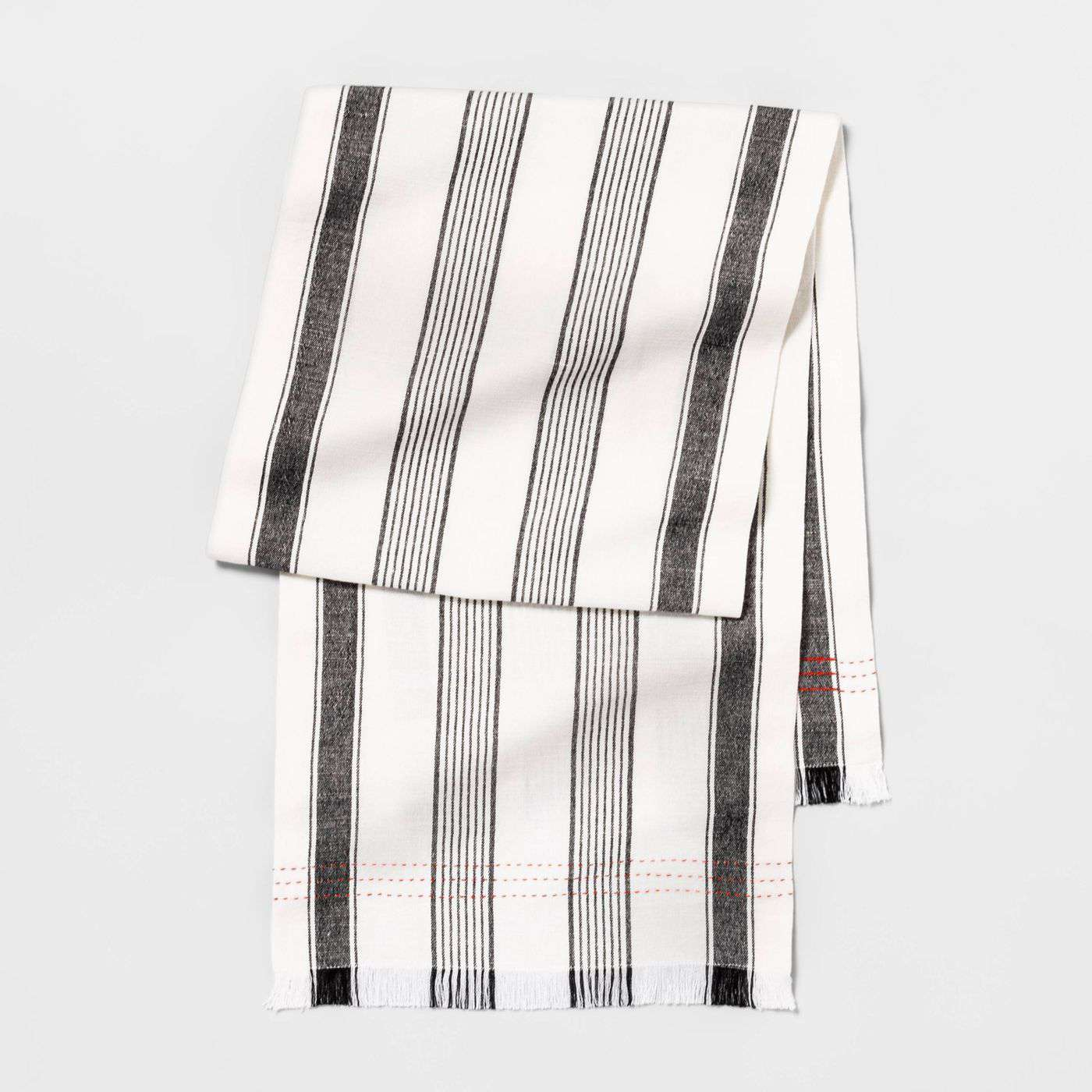 white and charcoal striped table runner