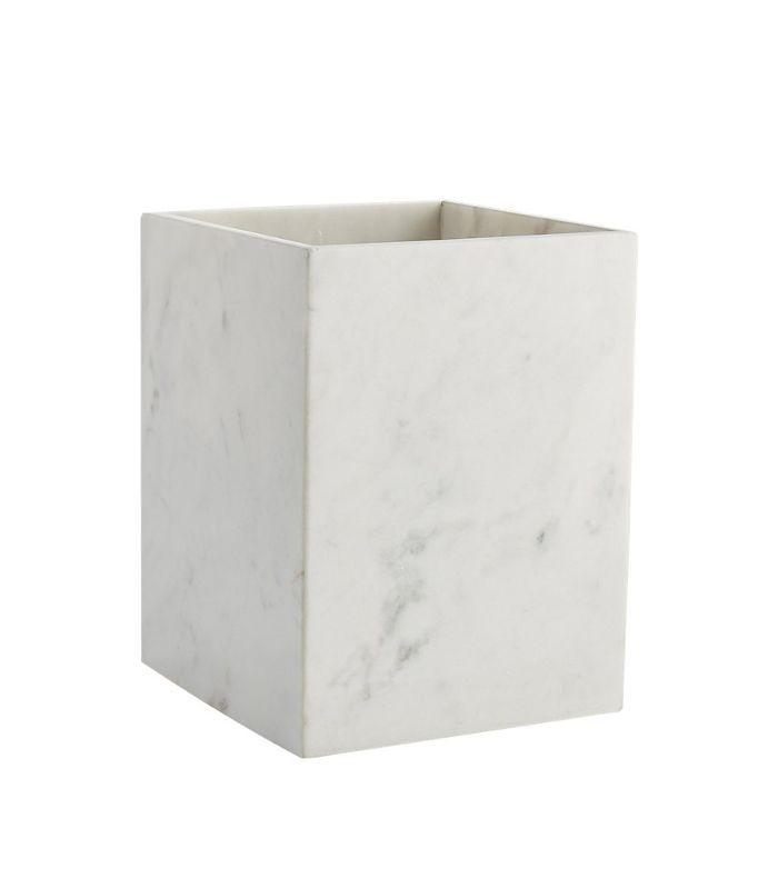 White Marble Wastebasket