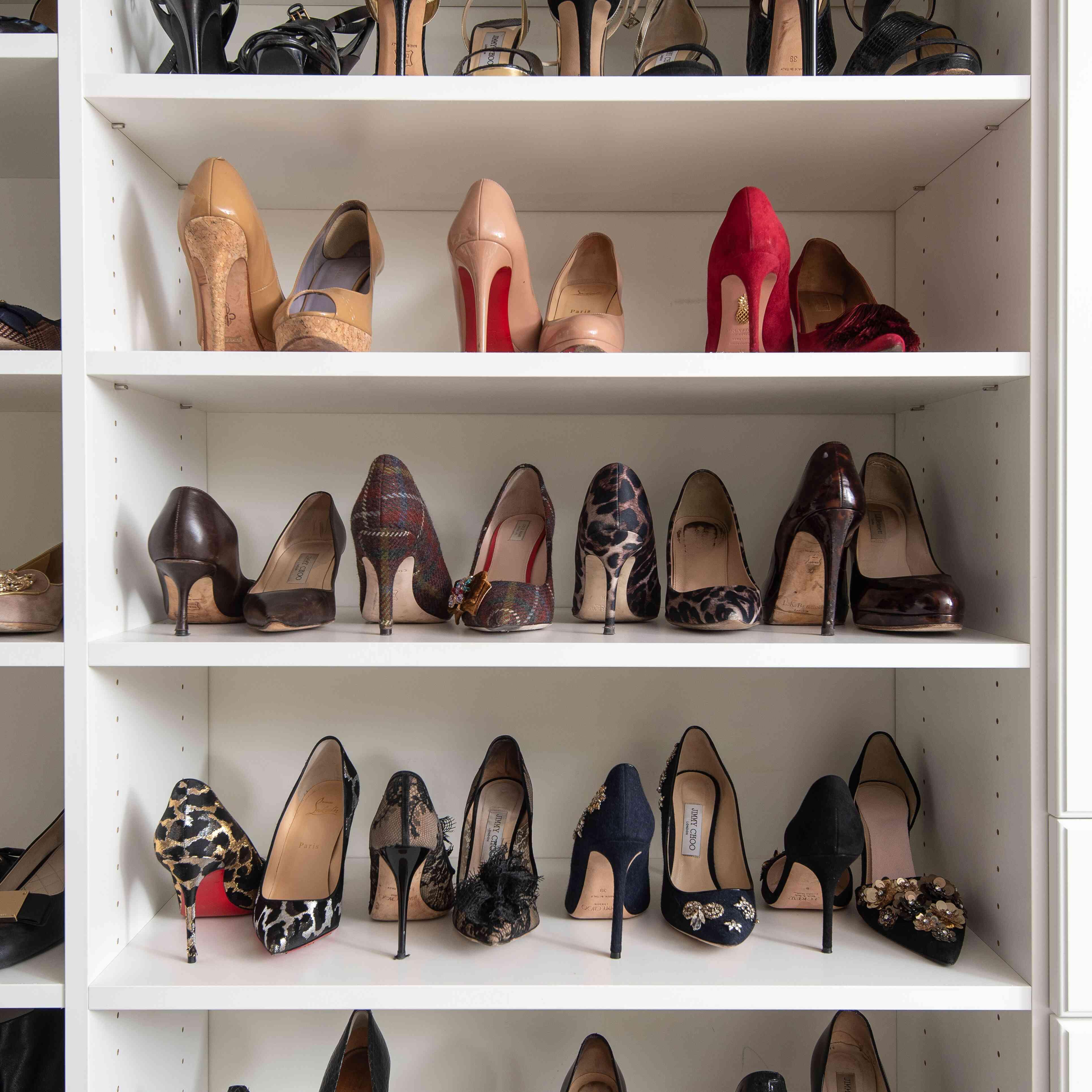 Shoes organized on a shelf
