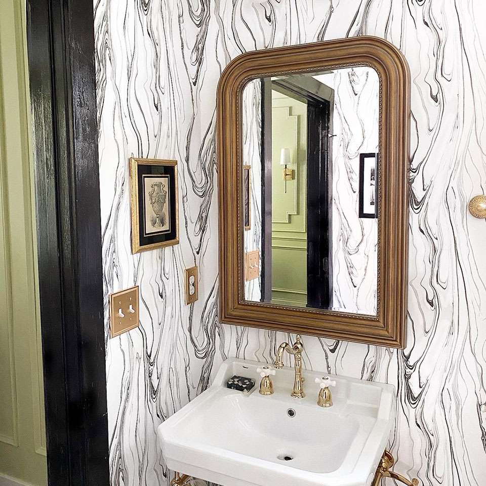 Marble wallpaper bathroom