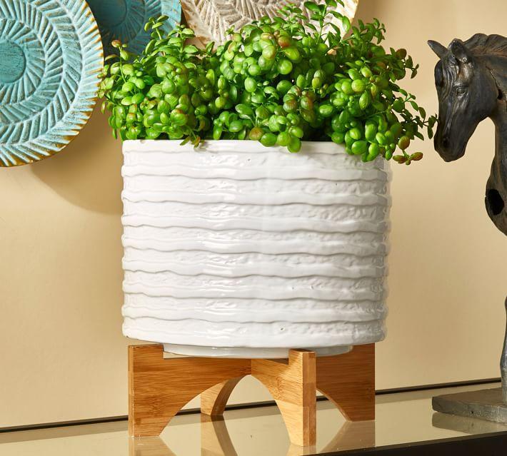Pottery Barn Kennedy Textured Ceramic Planter