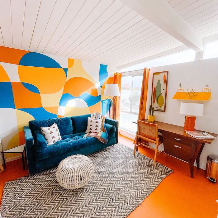 blue and orange eclectic living room