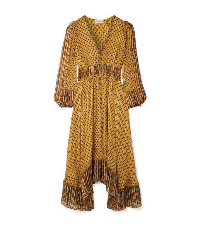 Amabelle Printed Silk-Jacquard Midi Dress