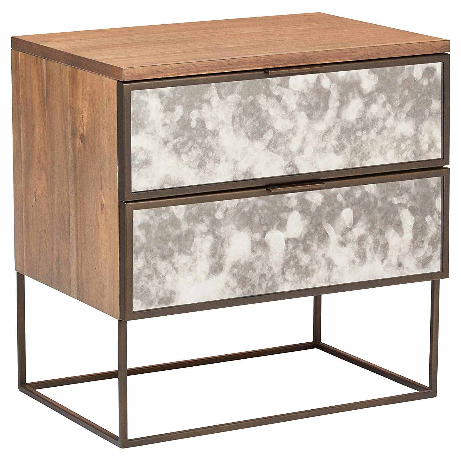 Modern Wood and Antique Mirror Panel Nightstand