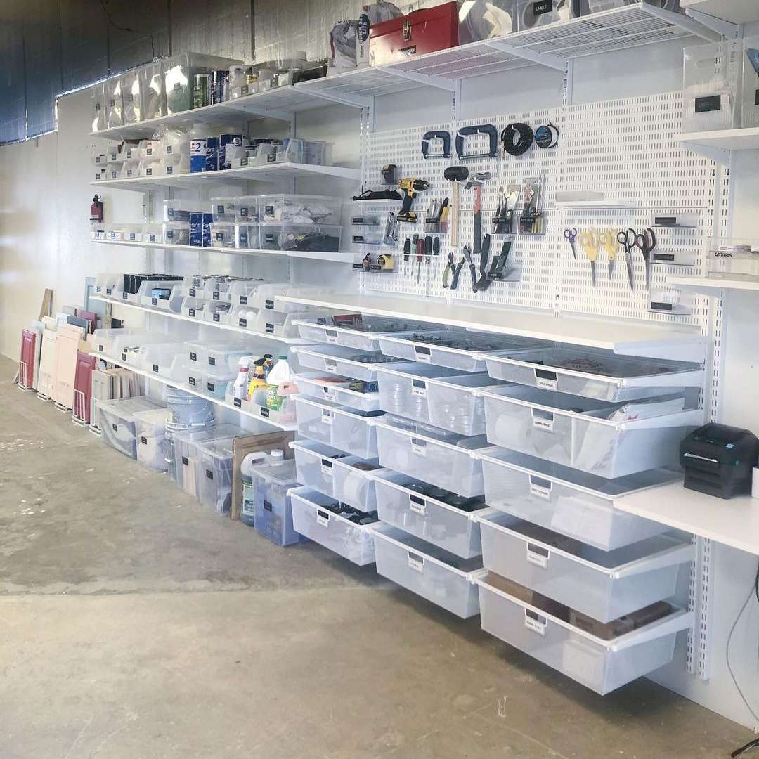 Garage wall filled with storage