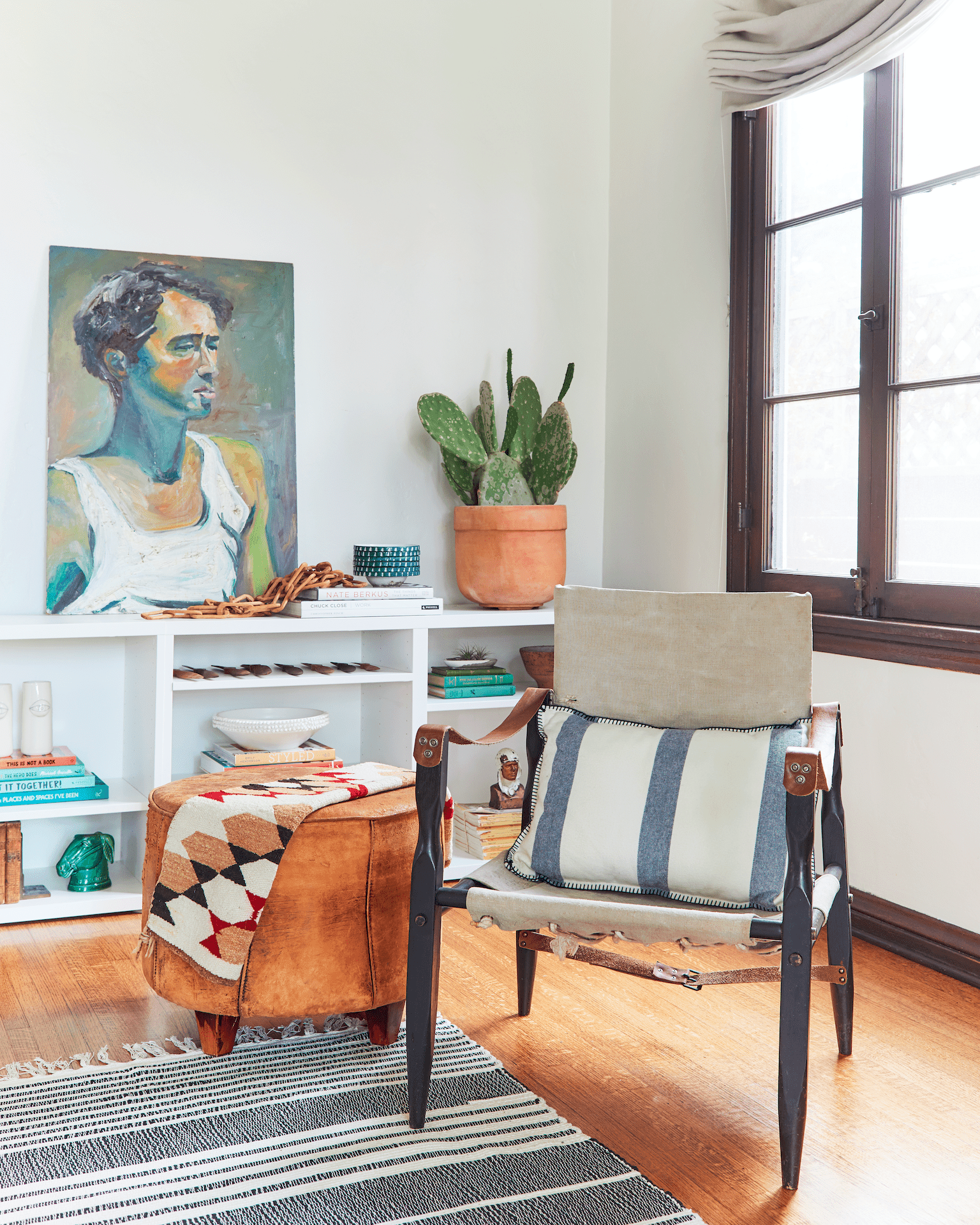 Vintage furniture in a chic Los Angeles living room