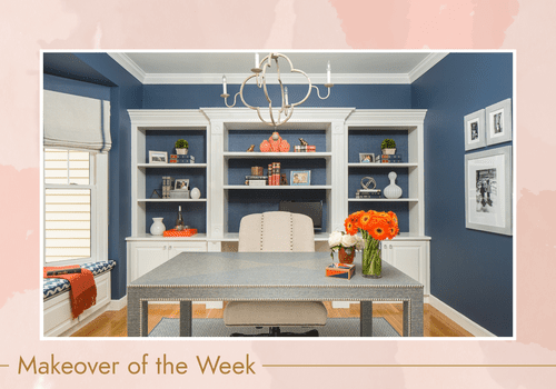 Renovated home office with navy blue walls and white built ins.