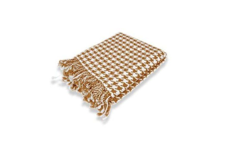 Peach Couture Cashmere Houndstooth Throw