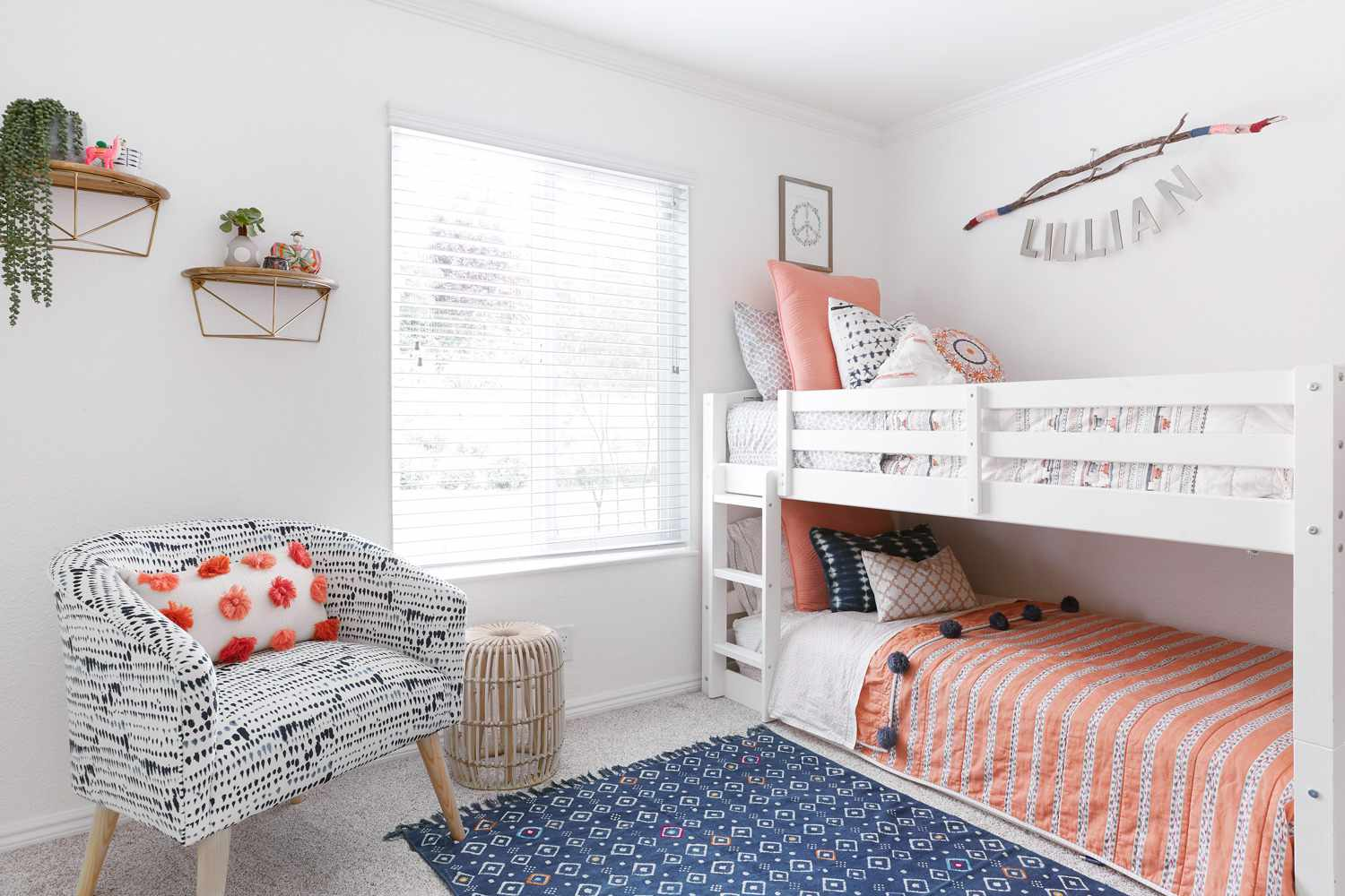 Blue and peach bedroom