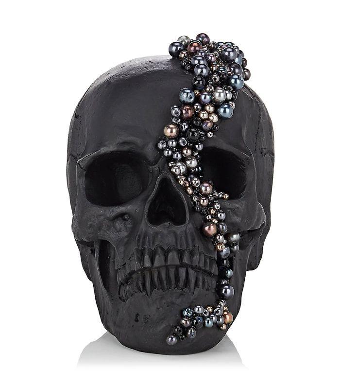 Pearl-Embellished Resin Skull-Black