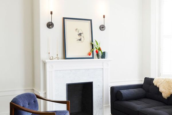 living room with white mantle