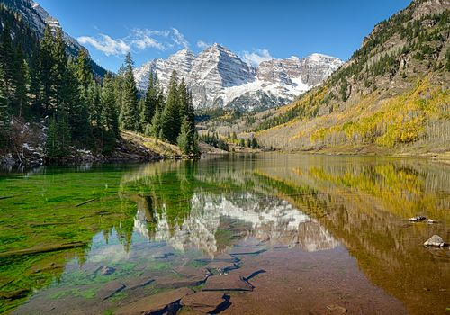 Maroon Bells mountains at White River National Forest in Colorado
