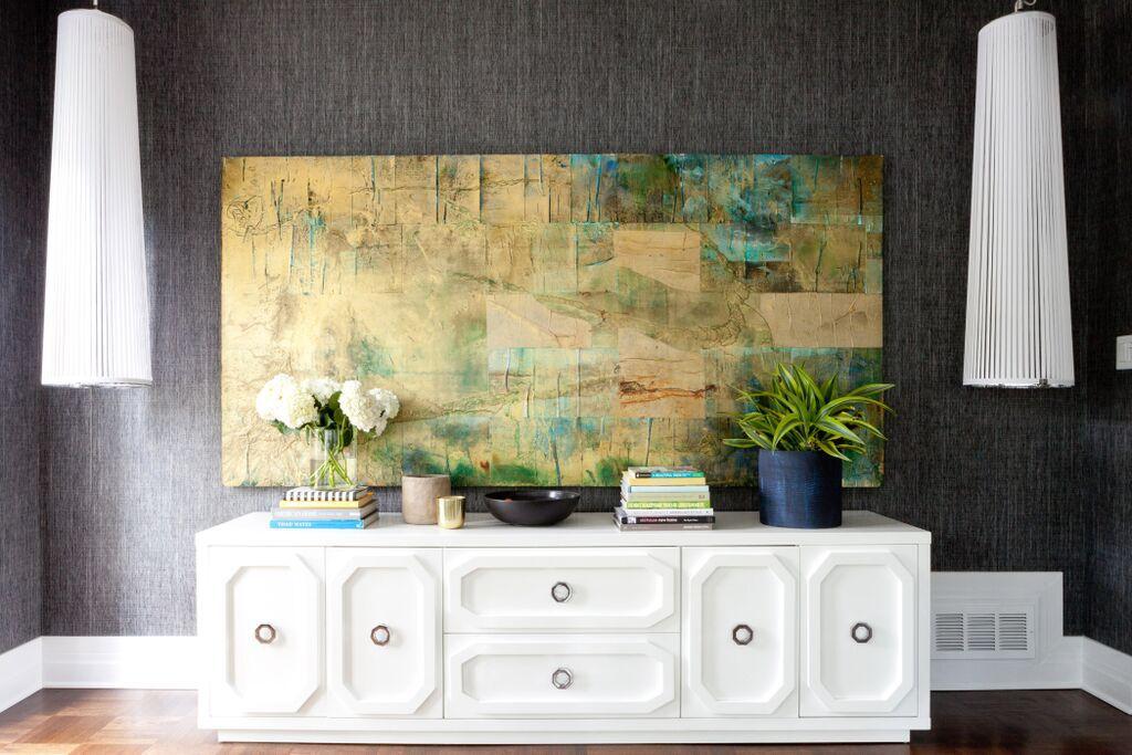 bedroom with modern white dresser