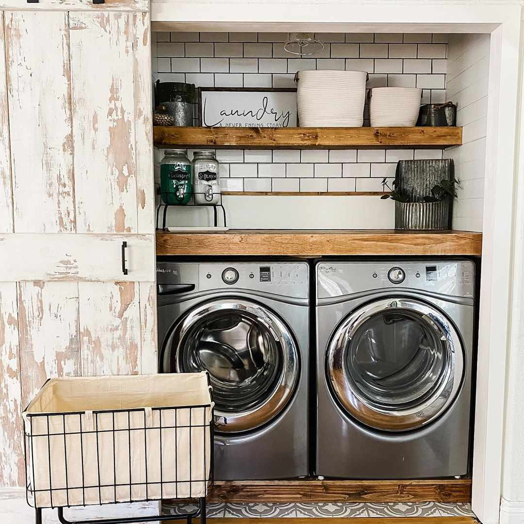 Laundry room in a closet with shelves