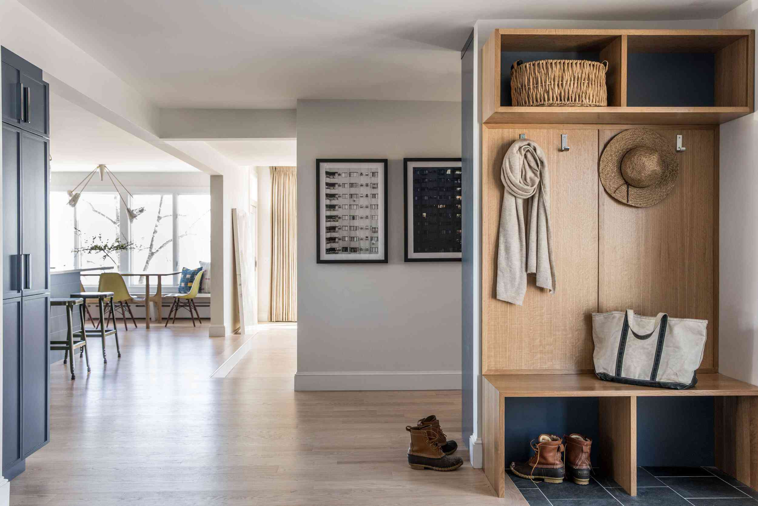 A mudroom tucked against a wall