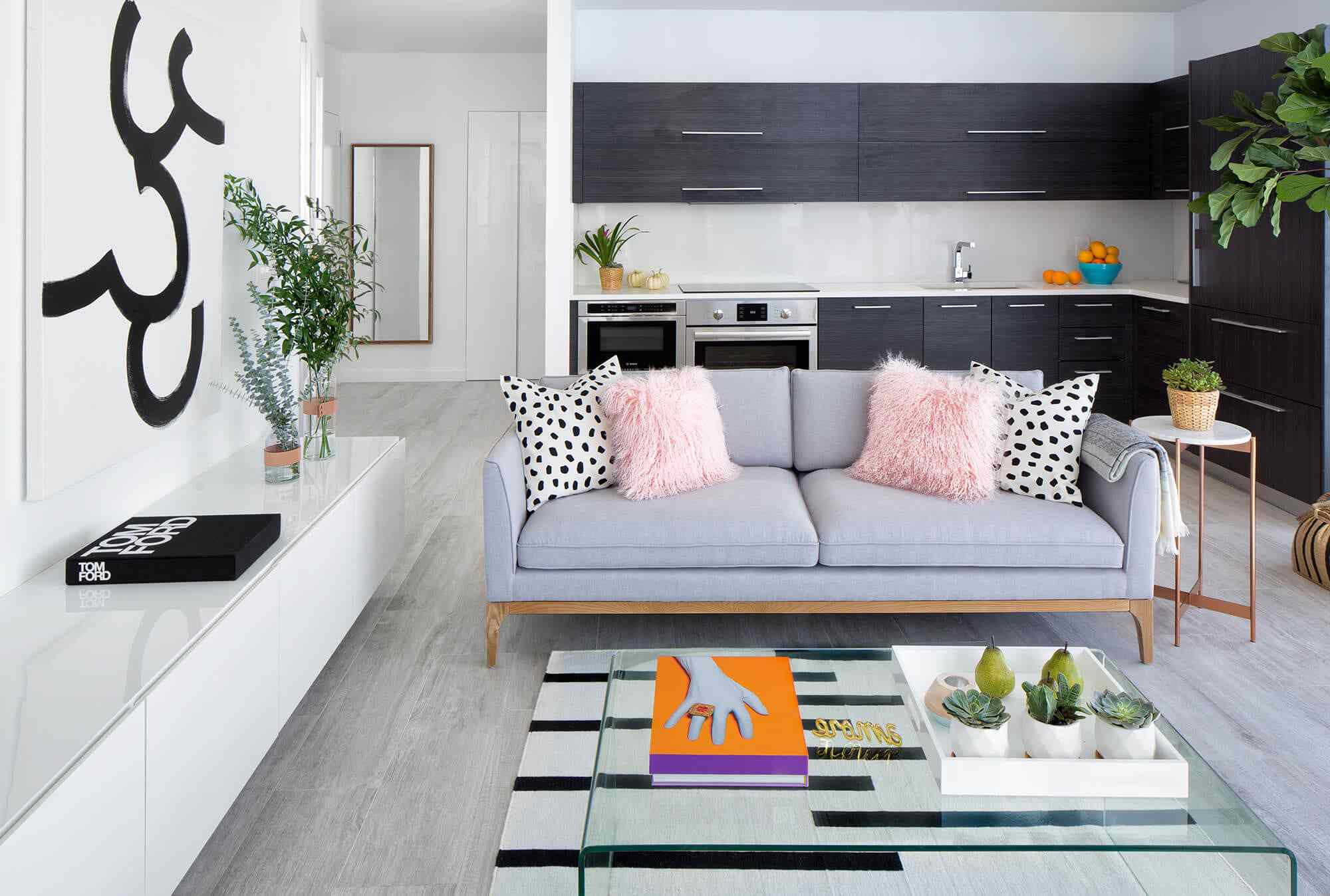 Modern eclectic living room with funky throw pillows.