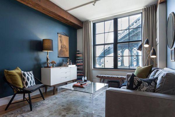 cozy livingroom overlook a bridge