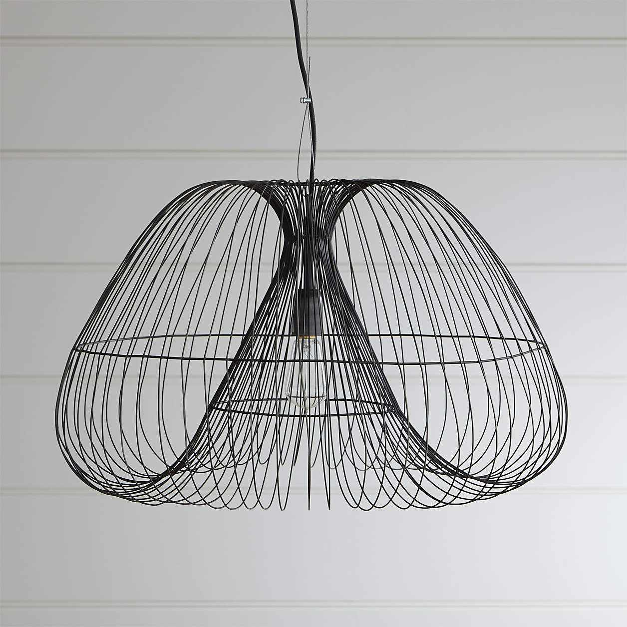 A contemporary black wire chandelier, currently for sale at Crate & Barrel